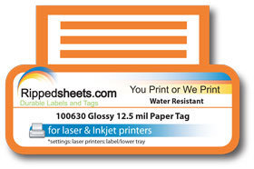 100630 12 5 Mil Water Resistant Gloss Paper Tags