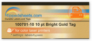 Bright gold Tag for color laser printers
