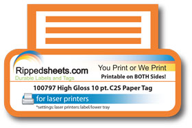 High Gloss Cast Coated 2 Side Laser Printable on both sides ultra smooth Tag