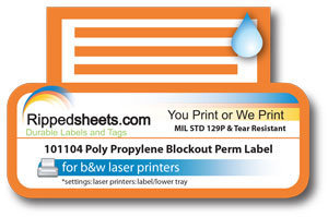 Polypropylene Blockout Label Permanent Adhesive