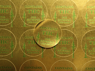 Bright Gold Foil Permanent Adhesive Label