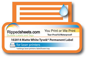 Waterproof Tyvek label