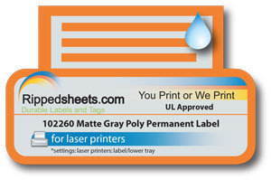 UL Approved Gray Polyester Label