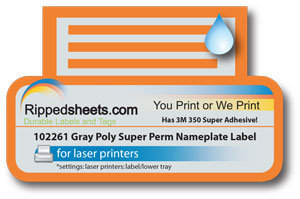 UL Approved Gray Nameplate Label