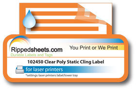 picture about Printable Static Cling Labels called 102450 - Obvious Polyester Static Hold Labels