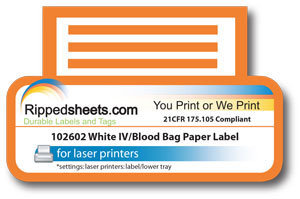 photo regarding Waterproof Printable Labels called Water-proof White IV Blood Bag Worry Delicate Adhesive Paper Labels