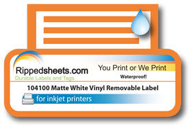 photo about Removable Printable Labels titled 104100 - Watertight Matte White Vinyl Detachable Adhesive Labels