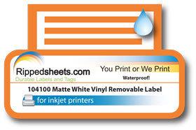 graphic regarding Removable Printable Labels known as 104100 - Water-resistant Matte White Vinyl Detachable Adhesive Labels