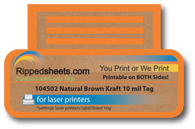 picture relating to Printable Kraft Tags referred to as 104502 - Organic Brown Kraft Tag 10 mil Non-Adhesive Tag