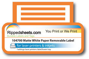 Bright White Matte Paper Label