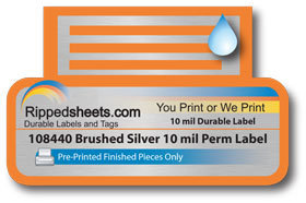 Brushed Silver 10mil Permanent Label