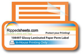 Glossy Laminated Paper Label Permanent Adhesive