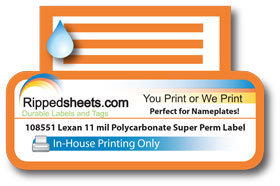 108551 11 Mil Velvet Polycarbonate Laminated Super Permanent Custom Printed Label