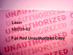 Matte Red No-Copy UNAUTHORIZED COPY Paper